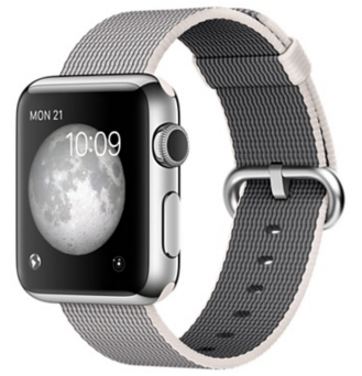 Apple Watch Корпус 38 мм, нержавеющая сталь, ремешок из плетёного нейлона жемчужного цвета (MMFH2)