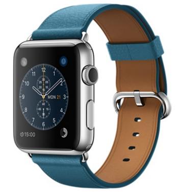 Apple Watch Корпус 42 мм, нержавеющая сталь, ремешок цвета «океанская синева» с классической пряжкой (MMFU2)