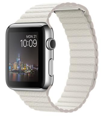 Apple Watch Корпус 42 мм, нержавеющая сталь, кожаный ремешок белого цвета (MMFV2) Размер ремешка M и L