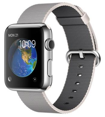 Apple Watch Корпус 42 мм, нержавеющая сталь, ремешок из плетёного нейлона жемчужного цвета (MMG02)