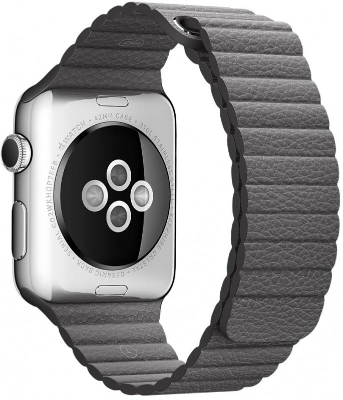 Кожаный ремешок цвета «грозовое небо» для Apple Watch 42 мм, размер M (MMAQ2ZM/A)