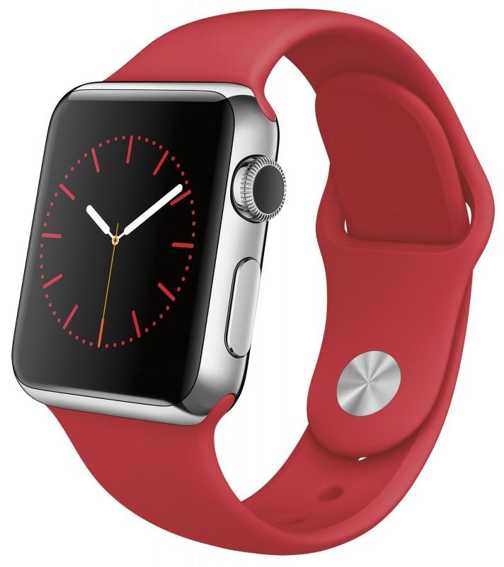 Часы Apple Watch, Корпус 38 мм из нержавеющей стали, спортивный ремешок (PRODUCT) RED (красный) MLLD2