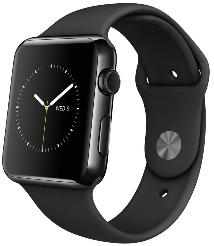 """Часы Apple Watch, Корпус 42 мм из нержавеющей стали цвета """"черный космос"""", черный спортивный ремешок (черный) MLC82"""