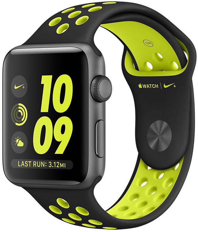 Apple Watch Nike+, Корпус 42 мм из алюминия цвета «серый космос», спортивный ремешок Nike цвета «чёрный/салатовый» (MP0A2)