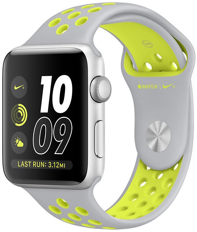 Apple Watch Nike+, Корпус 42 мм из серебристого алюминия, спортивный ремешок Nike цвета «листовое серебро/салатовый» (MNYQ2)