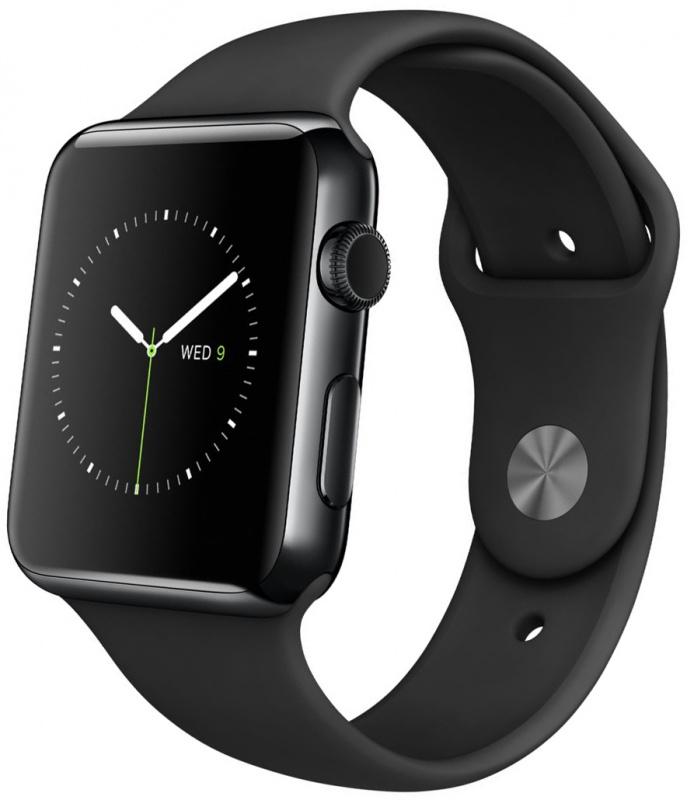 Умные часы Apple Watch Sport, Корпус 38 мм, нержавеющая сталь «черный космос», ремешок черного цвета (MLCK2)