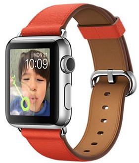 Apple Watch Sport Корпус 38 мм, нержавеющая сталь «серебристый», ремешок красного цвета с классической пряжкой(MJ312)