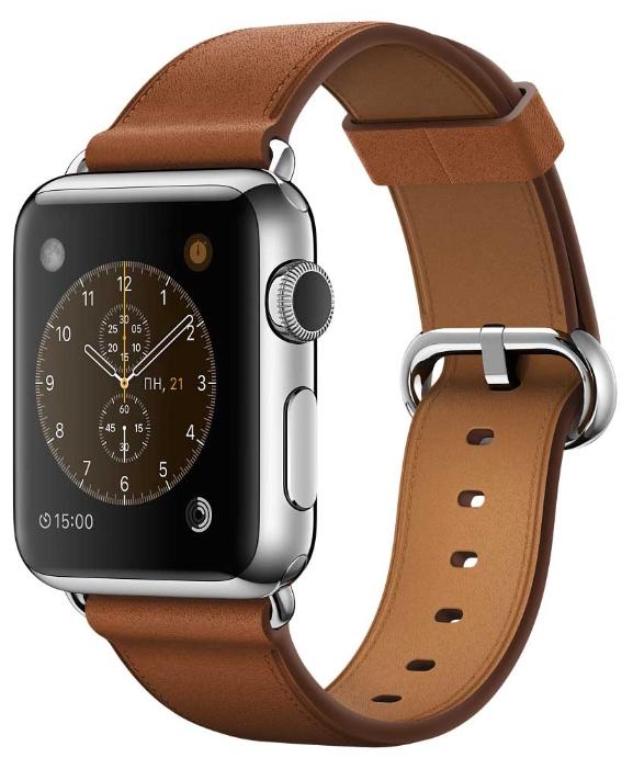 Умные часы Apple Watch, Корпус 38 мм, нержавеющая сталь «серебристая», ремешок коричневого цвета с классической пряжкой(MMF72)