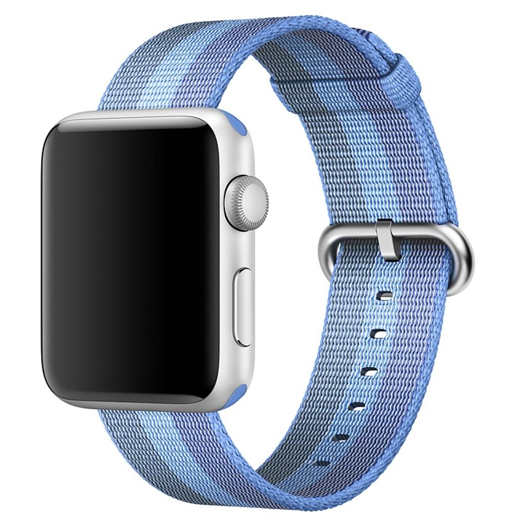 Ремешок из плетёного нейлона цвета «голубое озеро», в полоску для Apple Watch 42 мм (MPW52ZM/A)