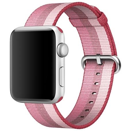 Ремешок из плетёного нейлона цвета «лесная ягода», в полоску для Apple Watch 38 мм (MPVW2ZM/A)