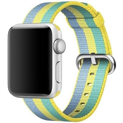 Ремешок из плетёного нейлона цвета «жёлтая пыльца», в полоску для Apple Watch 38 мм (MPVY2ZM/A)