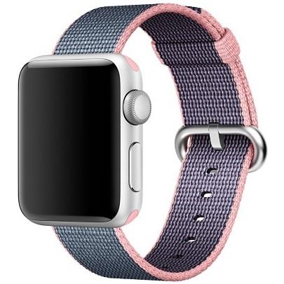 Ремешок из плетёного нейлона цвета «светло-розовый/тёмно-синий» для Apple Watch 38 мм (MNK62ZM/A)