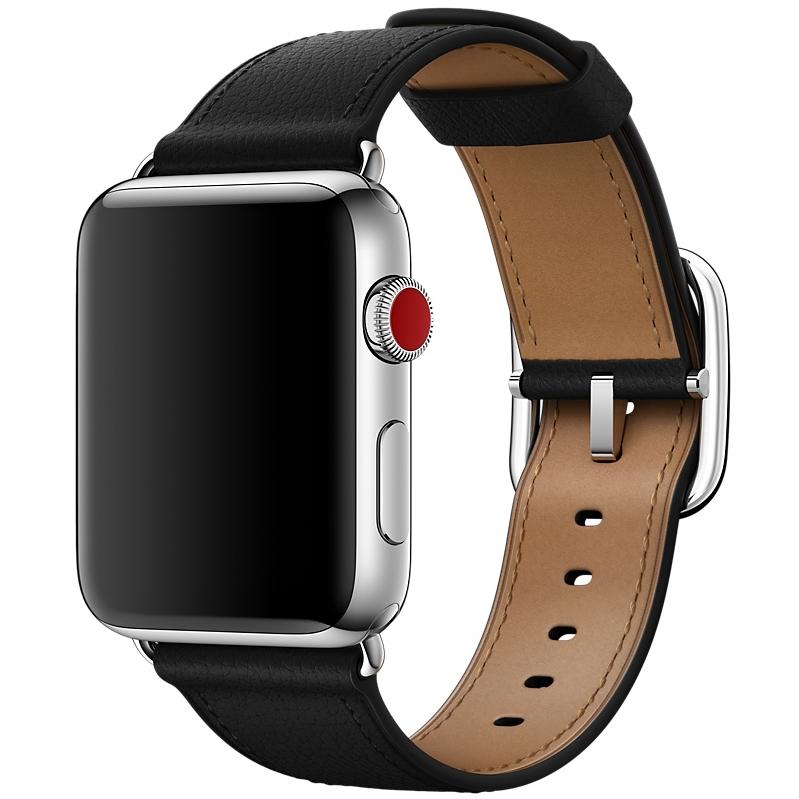 Ремешок чёрного цвета с классической пряжкой для Apple Watch 38 мм (MPW92ZM/A)