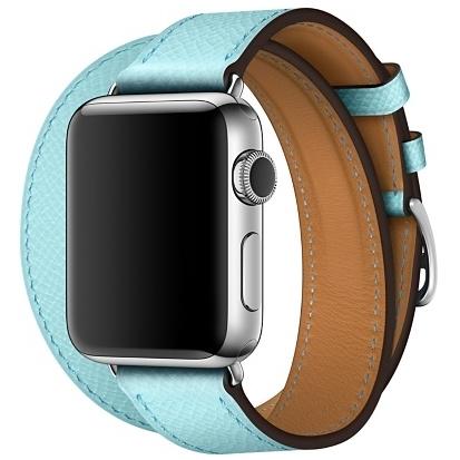 Ремешок Hermès Double Tour из кожи Epsom цвета Bleuphyr для Apple Watch 38 мм (MPXC2ZM/A)