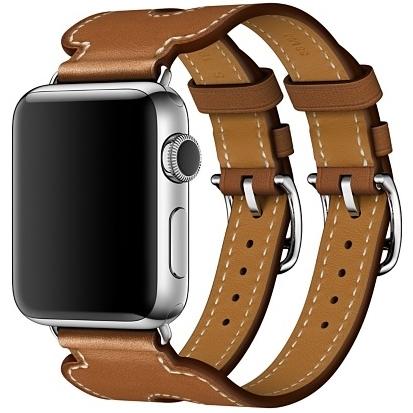 Ремешок Hermès Manchette Barenia Fauve рыже-коричневого цвета с двойной пряжкой для Apple Watch 38 мм (MPXD2ZM/A)