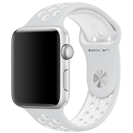 Спортивный ремешок Nike цвета «чистая платина/белый» для Apple Watch 38 мм, размеры S/M и M/L (MQ2J2ZM/A)