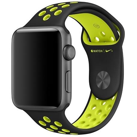 Спортивный ремешок Nike цвета «чёрный/салатовый» для Apple Watch 42 мм, размеры S/M и M/L (MQ2Q2ZM/A)