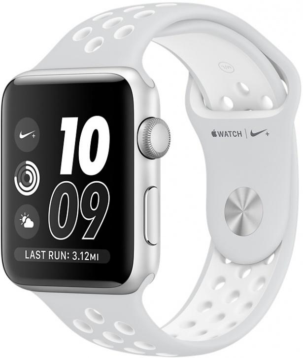 Apple Watch Nike+, Корпус 38 мм из серебристого алюминия, спортивный ремешок Nike цвета «чистая платина/белый», (MQ172)