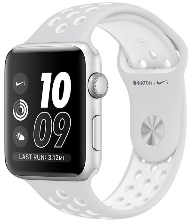 Apple Watch Nike+, Корпус 42 мм из серебристого алюминия, спортивный ремешок Nike цвета «чистая платина/белый», (MQ192)