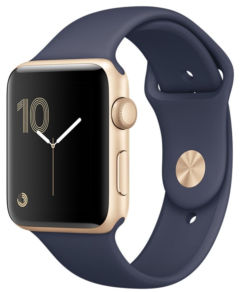 Apple Watch Series 2 Корпус 38мм из золотистого алюминия, спортивный ремешок тёмно-синего цвета (MQ132)