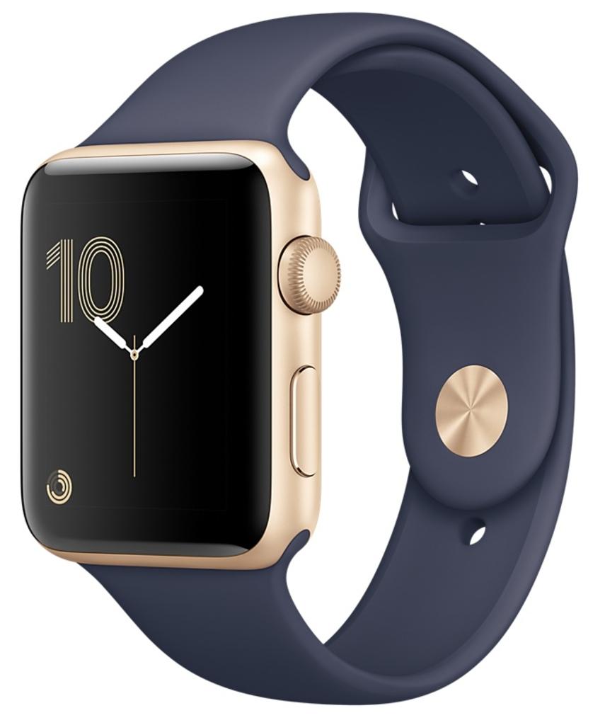Apple Watch Series 2 Корпус 42мм из золотистого алюминия, спортивный ремешок тёмно-синего цвета (MQ152)