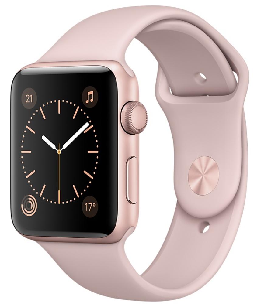 Apple Watch Series 2 корпус 42мм из алюминия цвета «розовое золото», спортивный ремешок цвета «розовый песок» (MQ142)