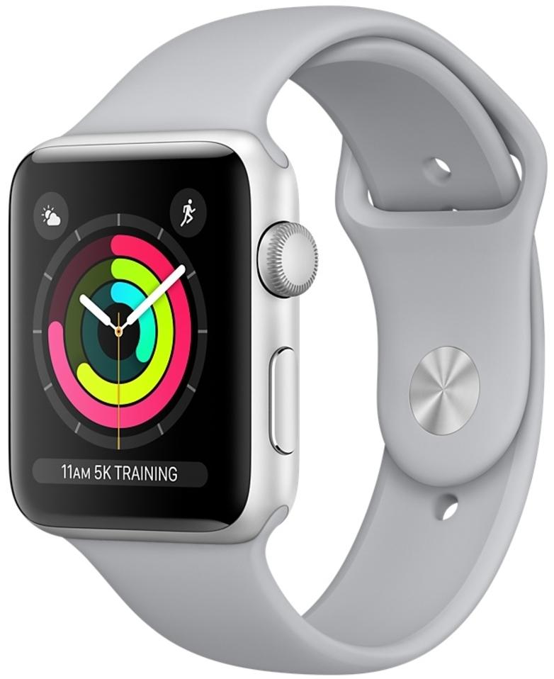 Apple Watch Series 3 38мм, корпус из серебристого алюминия, спортивный ремешок дымчатого цвета (MQKU2)