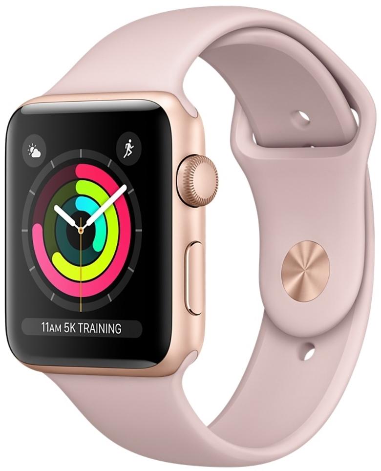 Apple Watch Series 3 38мм, корпус из золотистого алюминия, спортивный ремешок цвета «розовый песок» (MQKW2)