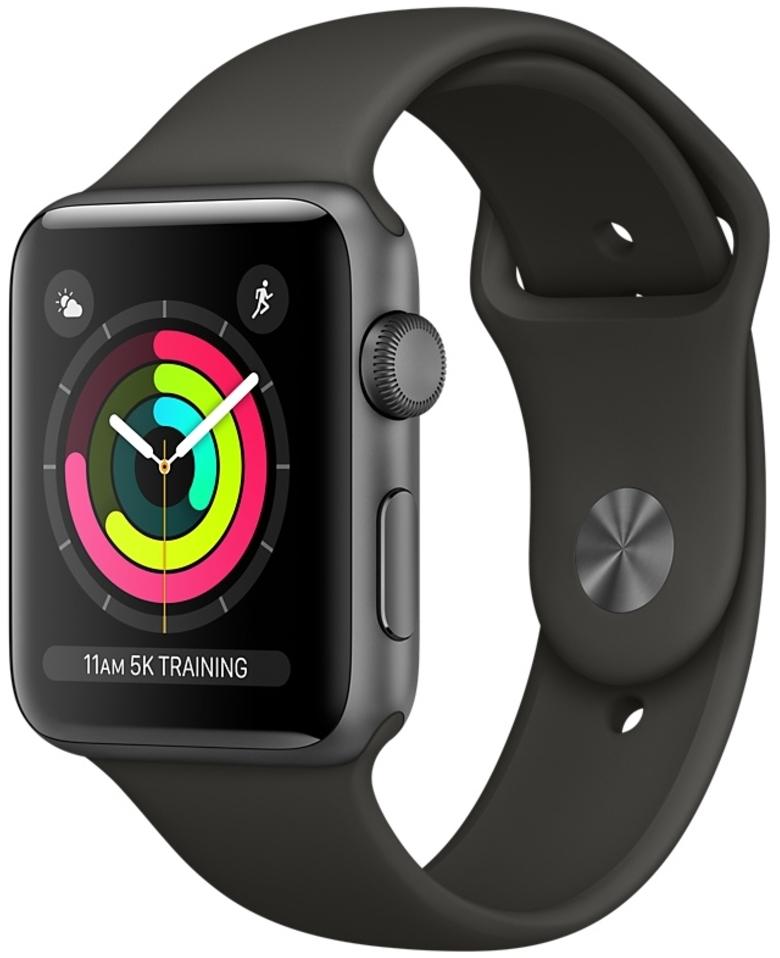 Apple Watch Series 3 42мм, корпус из алюминия цвета «серый космос», спортивный ремешок серого цвета (MR362)
