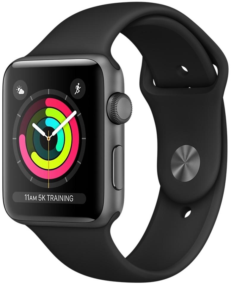 Apple Watch Series 3 38мм, корпус из алюминия цвета «серый космос», спортивный ремешок чёрного цвета (MQKV2)