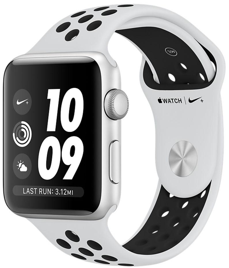 Apple Watch Nike+ Series 3 38мм, корпус из серебристого алюминия, спортивный ремешок Nike цвета «чистая платина/чёрный» (MQKX2)