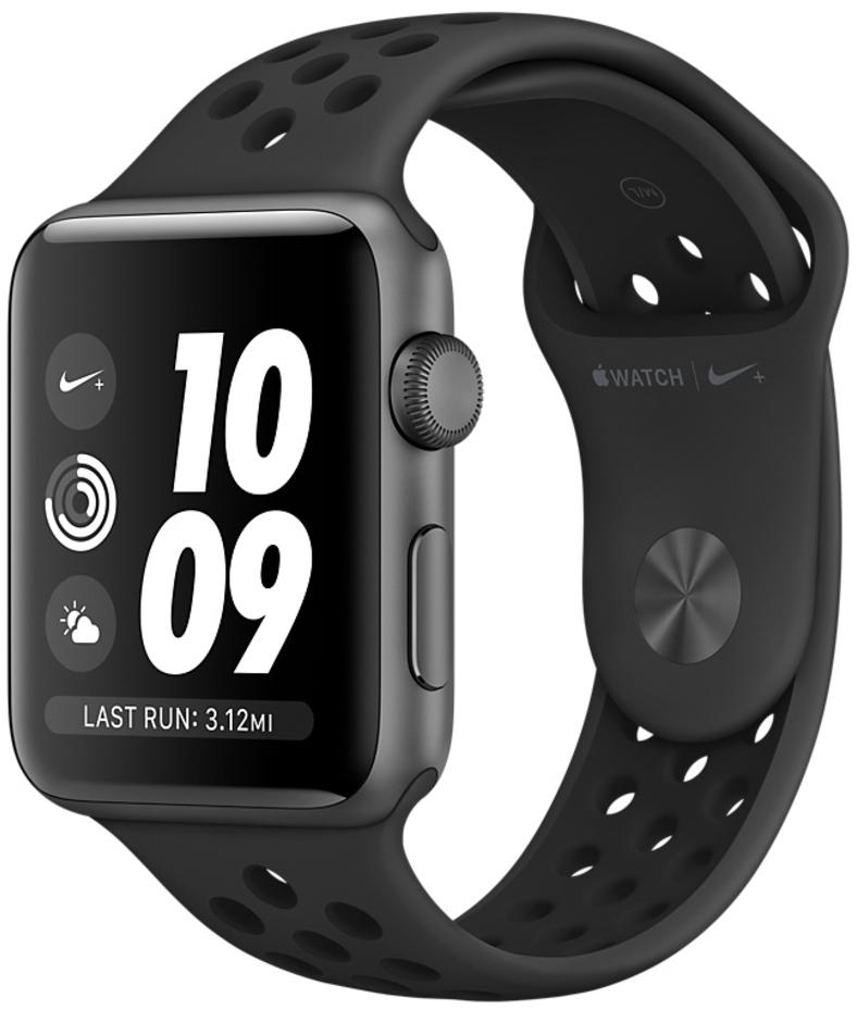 Apple Watch Nike+ series 3 42мм, корпус из алюминия цвета «серый космос», спортивный ремешок Nike цвета «антрацитовый/чёрный» (MQL42)