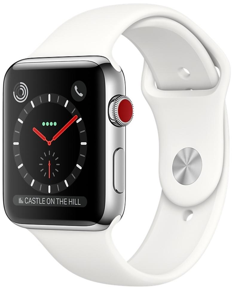 Apple Watch Series 3 Cellular 38мм, корпус из нержавеющей стали, cпортивный ремешок цвета «мягкий белый» (MQJV2)