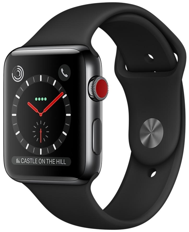 Apple Watch Series 3 Cellular 42мм, корпус из нержавеющей стали цвета «серый космос», спортивный ремешок чёрного цвета (MQK92)