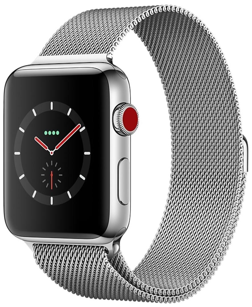 Apple Watch Series 3 Cellular 38мм, корпус из нержавеющей стали, миланский сетчатый браслет (MR1F2)