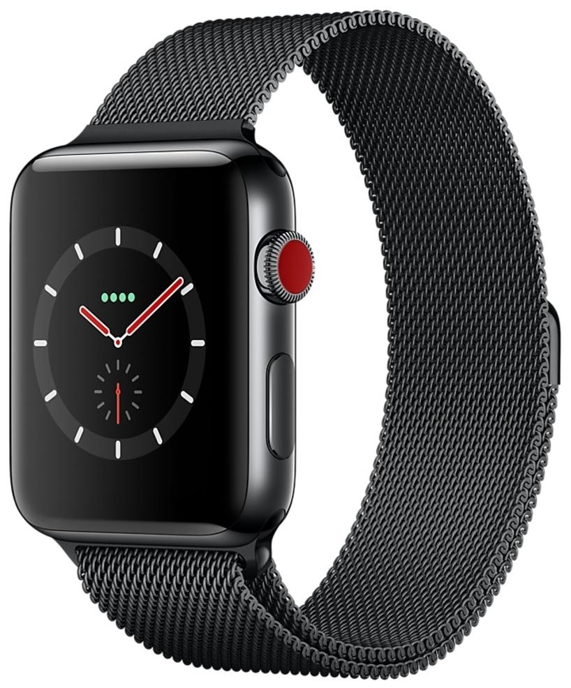 Apple Watch Series 3 Cellular 42мм, корпус из нержавеющей стали цвета «серый космос», миланский сетчатый браслет цвета «чёрный космос» (MR1L2)