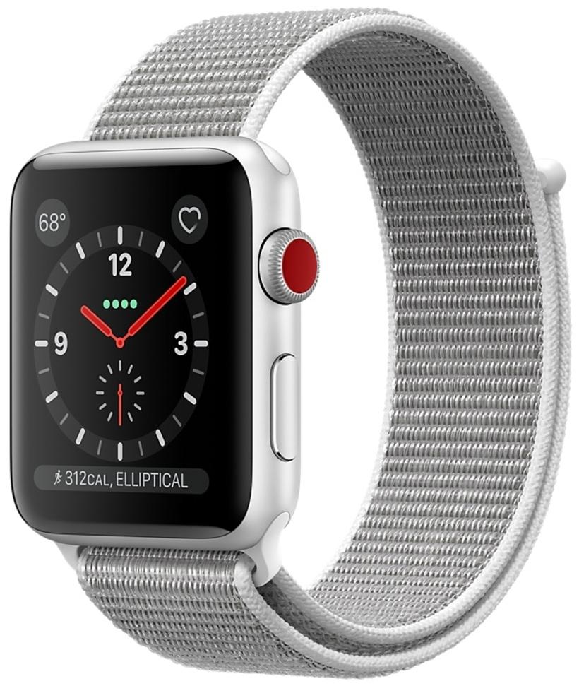 Apple Watch Series 3 Cellular 42мм, корпус из серебристого алюминия, спортивный браслет цвета «белая ракушка» (MQK52)