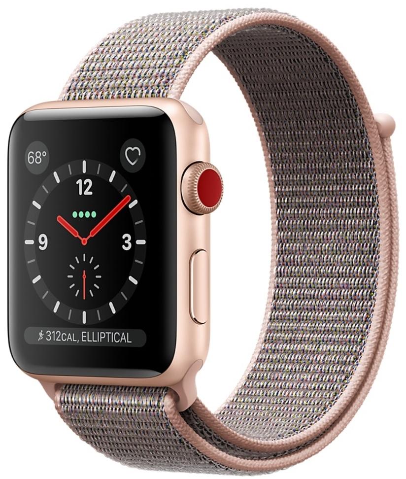 """Apple Watch Series 3 42мм с золотистый корпус с ремешком """"розовый песок"""" Sport Loop MQK72"""
