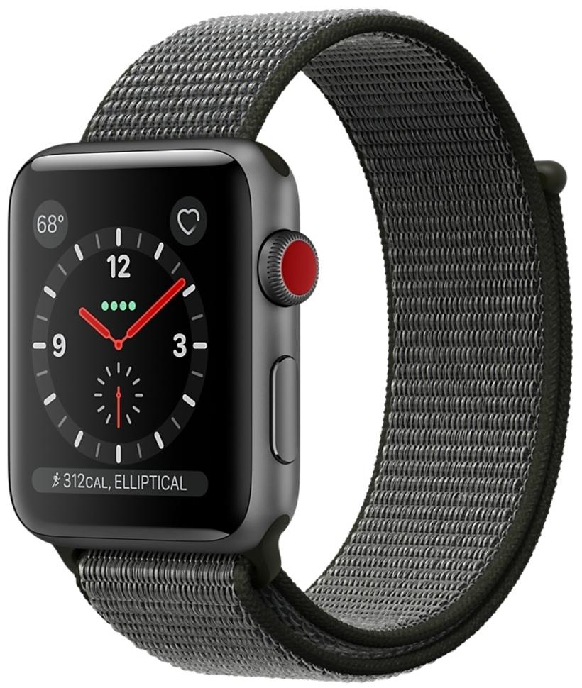 Apple Watch series 3 42мм алюминиевый корпус Space Серый  с темной оливковой спортивной петлей MQK62