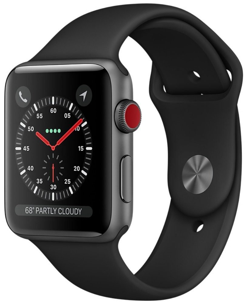 Apple Watch Series 3 Cellular 42мм, корпус из алюминия цвета «серый космос», спортивный ремешок чёрного цвета (MTGT2, MQK22, MQKN2)