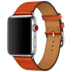 Ремешок Hermès Simple Tour из кожи Epsom цвета Feu для Apple Watch 42 мм (MMMW2ZM/A)