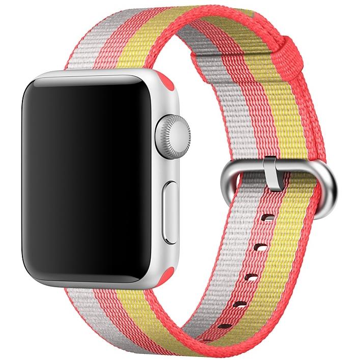 Ремешок из плетёного нейлона красного цвета, в полоску для Apple Watch 38 мм (MPW02ZM/A)