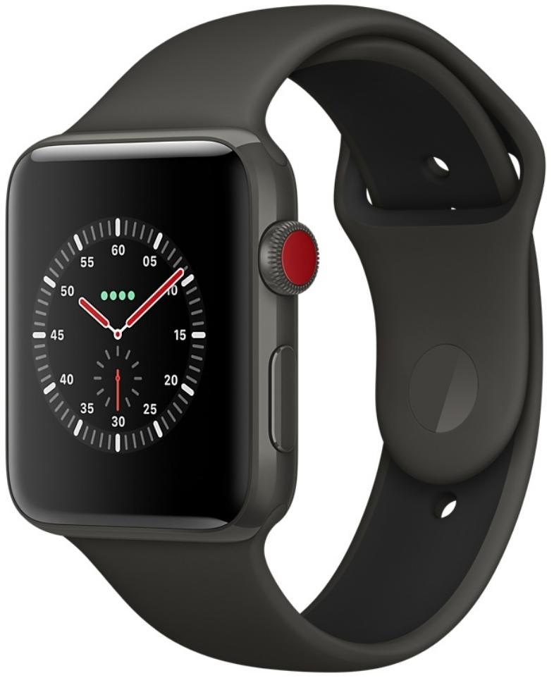 Apple Watch Series 3 Edition Cellular 42мм, корпус из керамики серого цвета, спортивный ремешок цвета «серый/чёрный» (MQKE2)