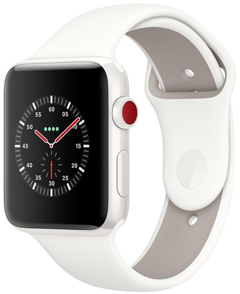 Apple Watch Series 3 Edition Cellular 42мм, корпус из керамики белого цвета, спортивный ремешок цвета «мягкий белый/морская галька» (MQKD2)