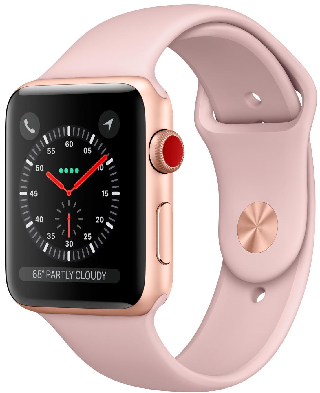 Apple Watch Series 3 Cellular 42мм, корпус из золотистого алюминия, спортивный ремешок цвета «розовый песок» (MQK32)