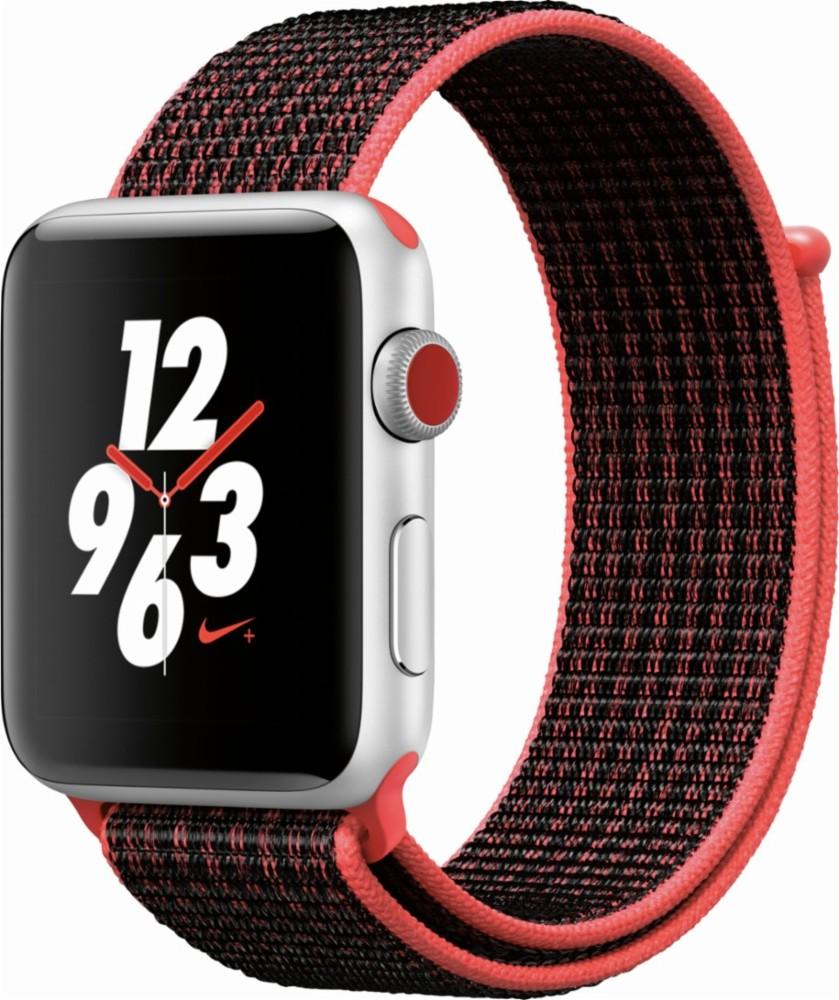 Apple Watch Series 3 Nike+ Cellular 42мм, корпус из серебристого алюминия, спортивный браслет Nike цвета «яркий тёмно-красный/чёрный» (MQLE2)