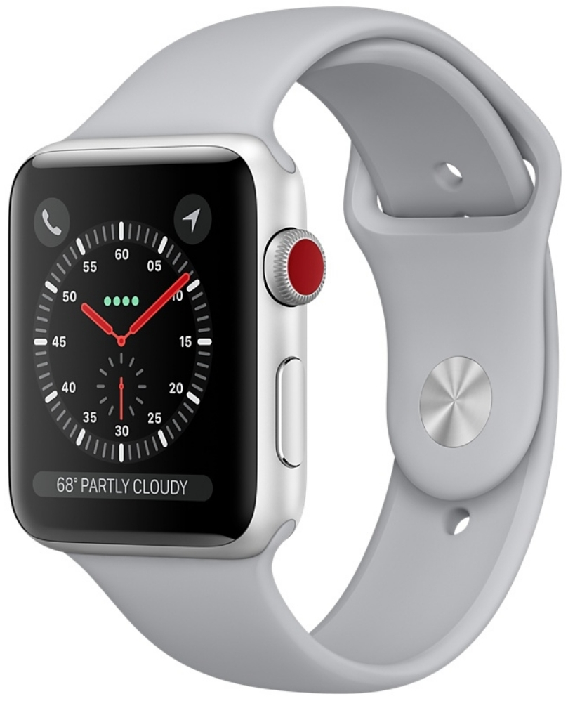 Apple Watch Series 3 Cellular 42мм, корпус из серебристого алюминия, спортивный ремешок дымчатого цвета (MQK12)