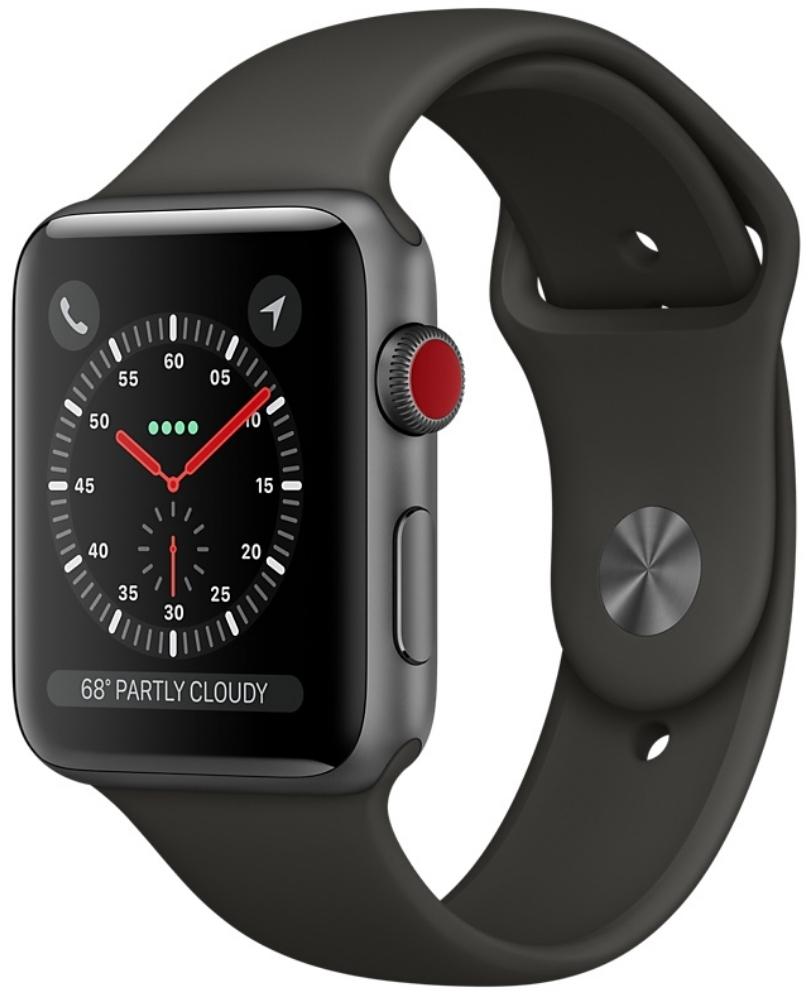 Apple Watch Series 3 Cellular 38мм, корпус из алюминия цвета «серый космос», спортивный ремешок серого цвета (MR2W2)