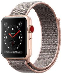 Часы Apple Watch Series 3 GPS + Cellular, 38mm Gold Aluminum Case with Pink Sand Sport Loop (MQJU2)