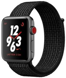 Часы Apple Watch Nike+ GPS + Cellular, 38mm Space Gray Aluminum Case with Black/Pure Platinum Nike Sport Loop (MQL82)